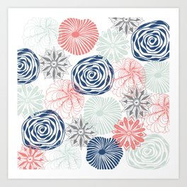 Floral Pattern in Coral Red, Navy Blue and Aqua Art Print