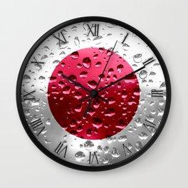Flag of Japan - Raindrops Wall Clock