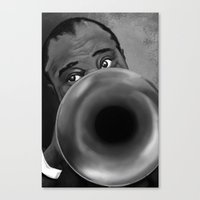 louis armstrong Canvas Prints featuring Louis Armstrong by Letora Anderson Art