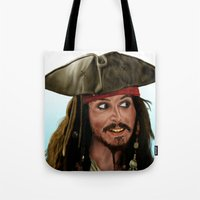 jack sparrow Tote Bags featuring Jack Sparrow by San Fernandez