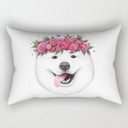 Samoyed with flowers Rectangular Pillow