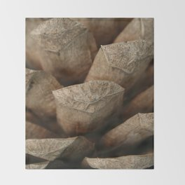Brown Pinecone Macro Photography  Throw Blanket