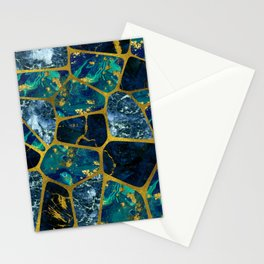 Voronoi diagram Gold Gemstone texture Stationery Cards