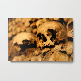 Skulls in the catacombs of Paris, France. Metal Print
