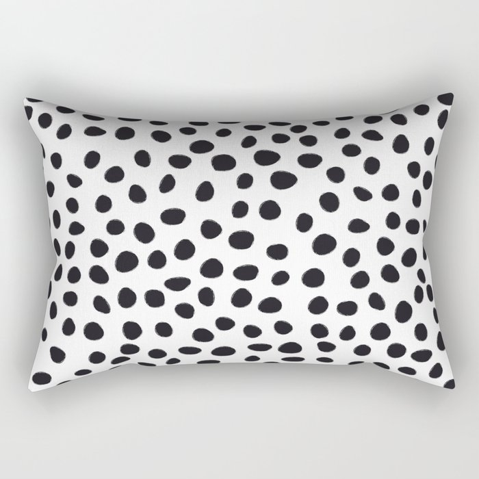 Hand Drawn Polka Dots, Spots Black &  White Rectangular Pillow