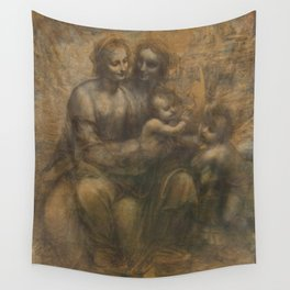The Virgin and Child with St Anne and St John the Baptist by Leonardo da Vinci Wall Tapestry