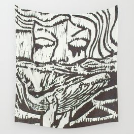 Woman, Whale and the Sea- Woodcut Wall Tapestry