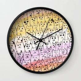 Cat Ink and Watercolor Wash Wall Clock