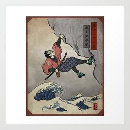 Rock Climbing Samurai Deep Water Soloing Art Print