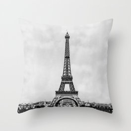 Eiffel tower, Paris France in black and white with painterly effect Throw Pillow
