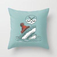 hockey Throw Pillows featuring Hockey Shark by Nick Volkert