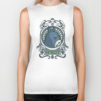 hallion Biker Tanks featuring Forest Spirit Nouveau by Karen Hallion Illustrations