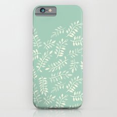 Painted Leaves - a pattern in cream on soft mint green iPhone 6 Slim Case