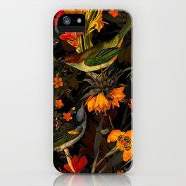 Vintage & Shabby Chic - Midnight Tropical Bird Garden iPhone Case