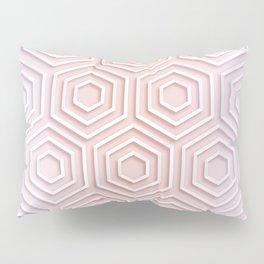 3D Hexagon Gradient Minimal Minimalist Geometric Pastel Soft Graphic Rose Gold Pink Pillow Sham