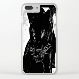 Big Cat Models: Black Panthers: Sasha 01-01 Clear iPhone Case