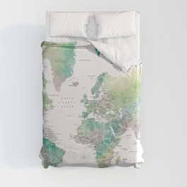 Watercolor world map in muted green and brown, with country capitals Duvet Cover