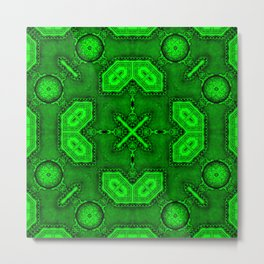 Victorian Art Deco Medieval Pattern bright green SB26/4 Metal Print