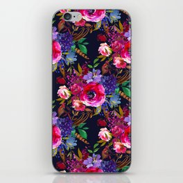 Colorful bohemian pink blue lilac watercolor roses iPhone Skin