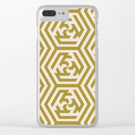 Yellow Sage Moroccan Geometric Pattern Clear iPhone Case