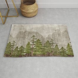 Mountain Range Woodland Forest Rug
