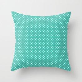 Pastel green white geometric simple polka dots Throw Pillow