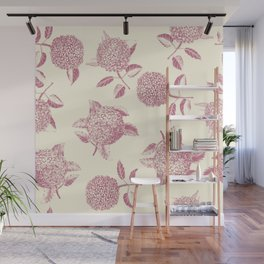 Big lush hydrangea , hortensia flowers on off-white seamless pattern. Pale pink. Atemporal, classic. Wall Mural