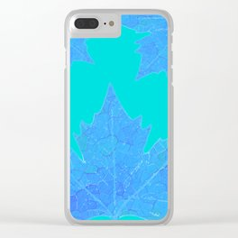 Sycamore Stained Glass Tiffany style design Ice leaf on turquoise Clear iPhone Case