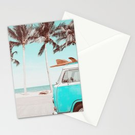 Retro Camper Van With Surf Board Stationery Cards