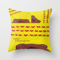 coasters Throw Pillows featuring Grumpy Bear - Coasters by Shereen Yap