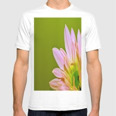 Pink Daisy White Mens Fitted Tee MEDIUM