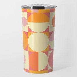 Thoroughly Modern Pink And Orange Geometric Design Travel Mug