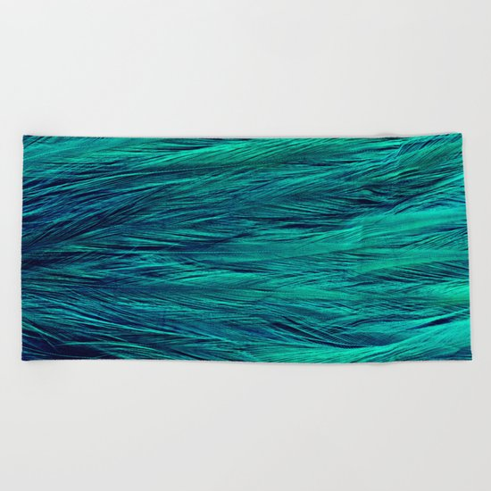 Teal Feathers Beach Towel