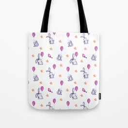 pattern with cute bunnies with balloons and stars Tote Bag