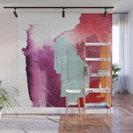 Desert Daydreams [3]: a colorful abstract mixed media piece in purple blue pinks and orange Wall Mural