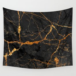 Black Malachite Marble With Gold Veins Wall Tapestry