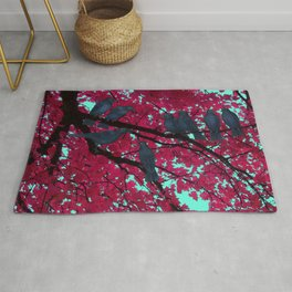 autumn crows, red maple Rug