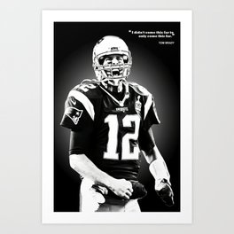 Tom Brady poster, canvas, New Eng-land Patriots for Wall Art Decor, Gym, Home Living, Bedroom, Office Decorations,, mancave with quote Art Print