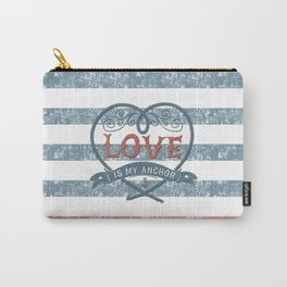 Maritime Design- Love is my anchor on navy blue and red striped background Carry-All Pouch