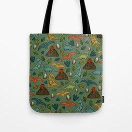 Dinosaurs, Jurassic Art, Volcanos and T-Rex, Dino Print Tote Bag
