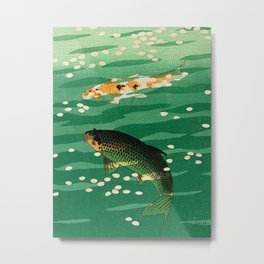 Vintage Japanese Woodblock Print Asian Art Koi Pond Fish Turquoise Green Water Cherry Blossom Metal Print