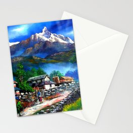 Panoramic View Of Everest Mountain Stationery Cards