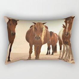 Beached Ponies - Group Rectangular Pillow