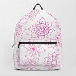 Hand painted pink white mandala floral Backpack