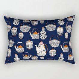 TEAPOT - pattern - navy blue, beige, red, pink Rectangular Pillow