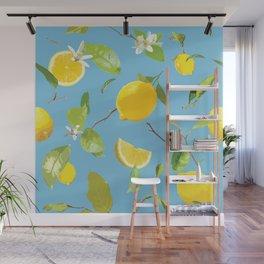 Watercolor Lemon & Leaves 10 Wall Mural