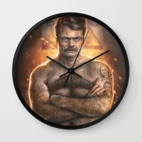 ron swanson Wall Clocks featuring Ron ****ing Swanson by Sam Spratt