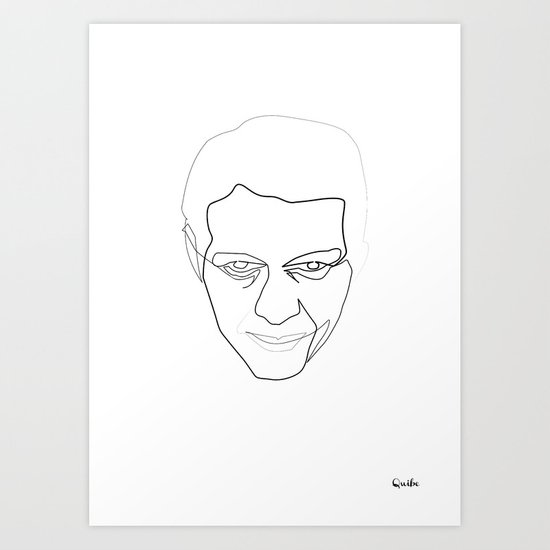 One line steve Mc Queen white Art Print