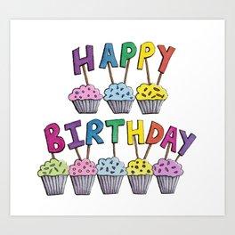 Happy Birthday Cupcakes Art Print