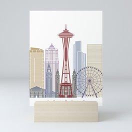 Seattle V2 skyline poster Mini Art Print